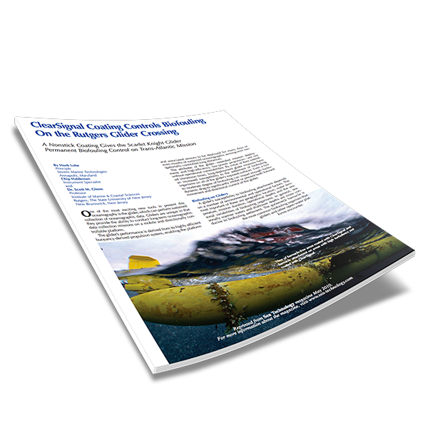 ClearSignal Coating Controls Biofouling On the Rutgers Glider Crossing